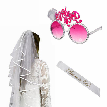 Bride To Be sash Glasses Veil Hen Do Night Party Accessories Bachelorette