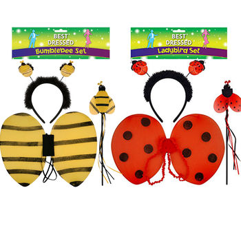 Girls Ladybird or bee Wings Set Fancy Dress Bug Insect Kids Child Fairy wing Costume AD2257