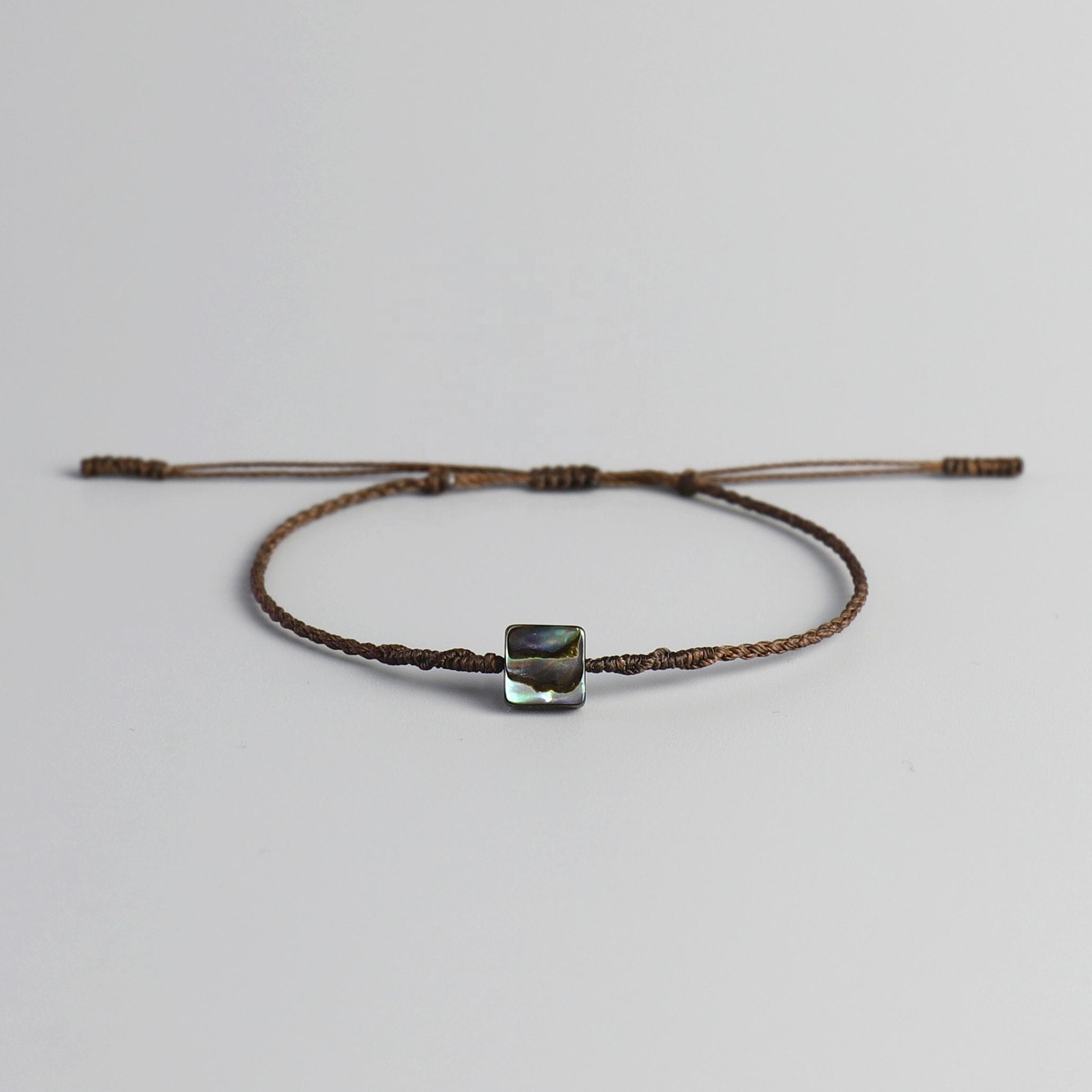 bd1242255149 Hecho a mano Natural Abalone Shell impermeable hilo de cera cable mano  tejido espiral nudo cuerda
