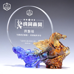 Crystal Award Art Craft China Shape Fengshui Horse House Decoration Trophy