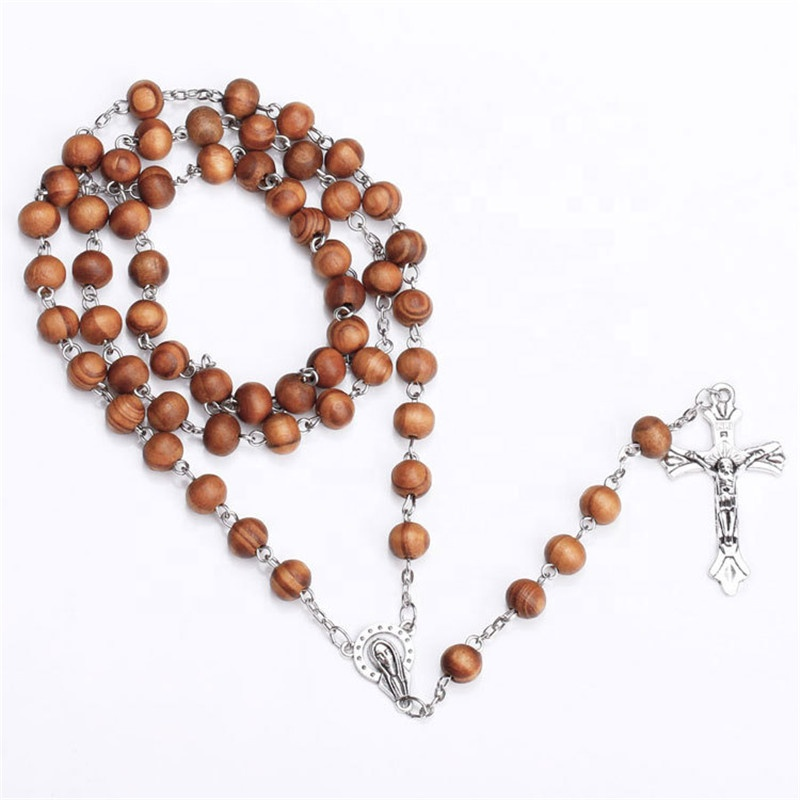 religion rose western cross good wood beads rosary necklace