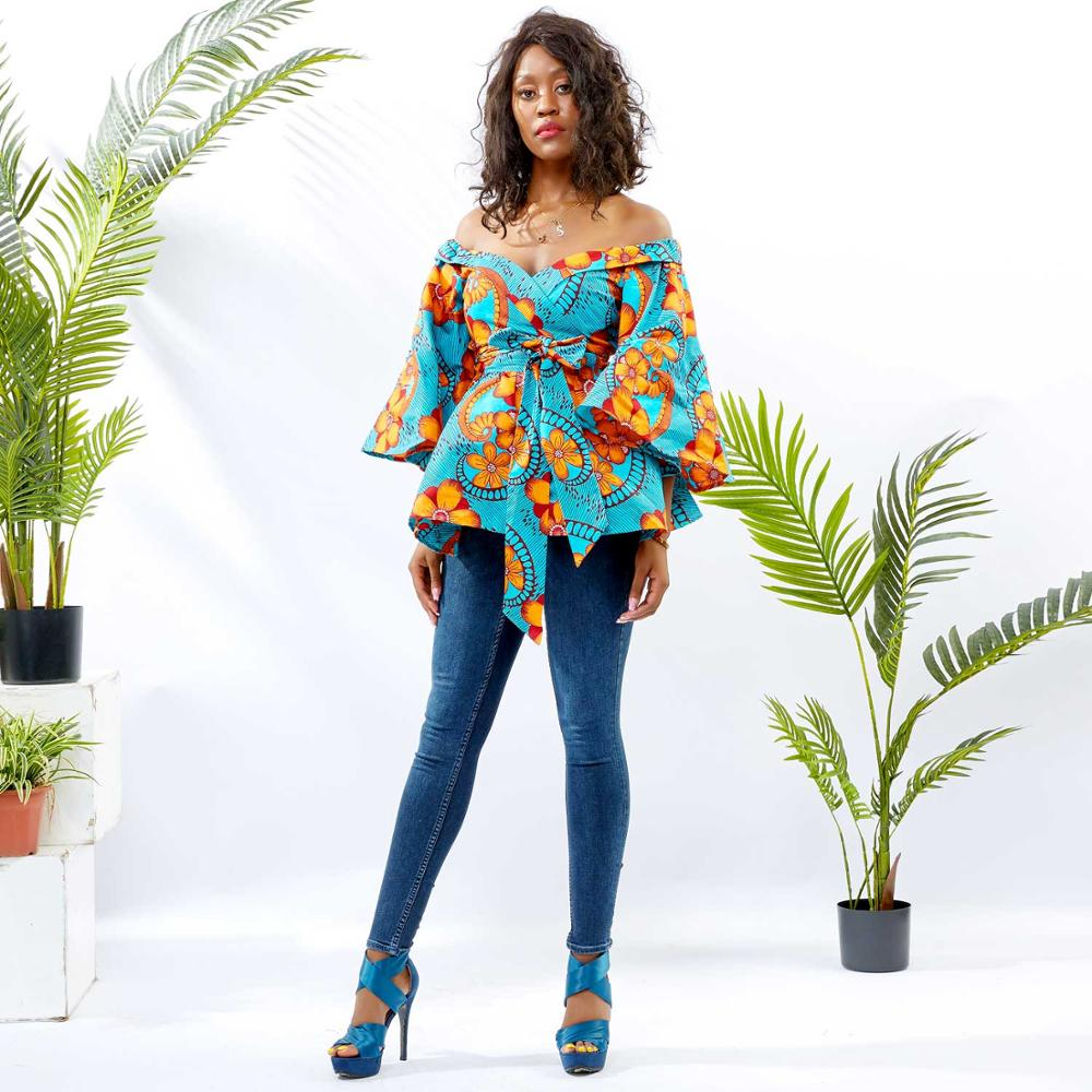2019 Latest Fashion Custom African Design Top Women Clothing Sexy One-shoulder Long-sleeved Blouse For Ladies Summer Wholesale