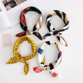 HB0042 Korean Style Elegant Women Square Silk Band Head Neck Feel Satin Scarf Skinny Hair Tie Band Small Fashion Square Scarf