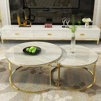 Modern Coffee Table Gold Stainless Steel Leg White Coffee Table