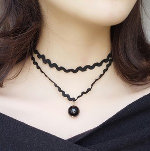 2019 glamour new fashion Necklace female clavicle chain double layer black lace pearl necklace chain collar wholesale