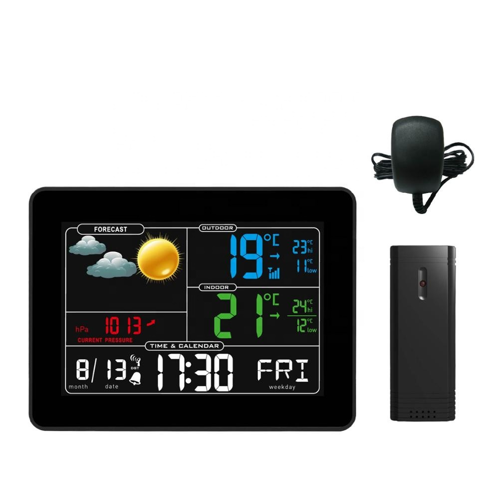 433mhz wireless weather station barometer digital clock with indoor & outdoor temperature