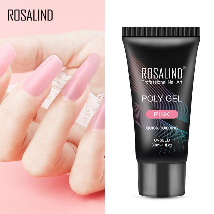 Rosalind high quality professional 30ml long lasting gel extension crystal uv/led nail builder gel poly gel for nails art salon, N/a