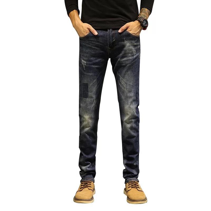4c47aac81b14e Крест границы джинсы для женщин для мужчин промывают плотно облегающие  колено отверстие Весна и лето тонкий