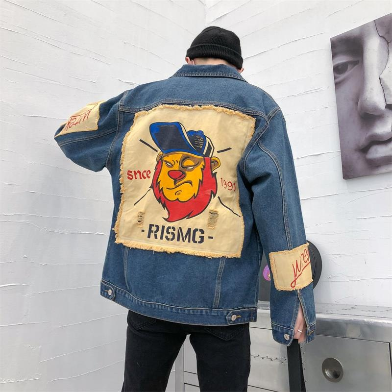 Spring and autumn new style distressed Ripped color washed  men's denim jacket with patches