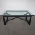 Glass top black iron metal coffee table tempered glass