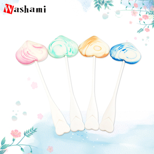 Manufactural Price Heart Shape Candy Lollipop Powder Puff With Handle