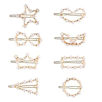 2019 Fashion Beautiful Jewelry 8pcs Hair Clips Pearl Barrette Set For Women Sweet Girl