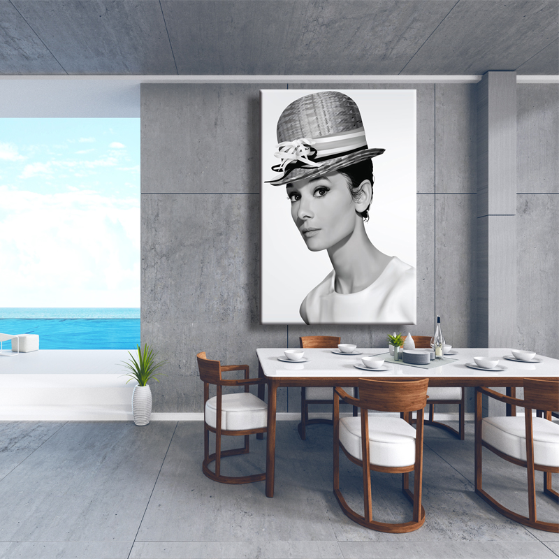 Audrey Hepburn Canvas Painting Pink Flower Poster Nordic Style Home Decoration Wall Pictures For Living Room