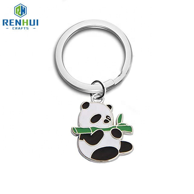 Manufacturer maker custom made brass usa souvenir 3d animal shaped cartoon metal panda keychain