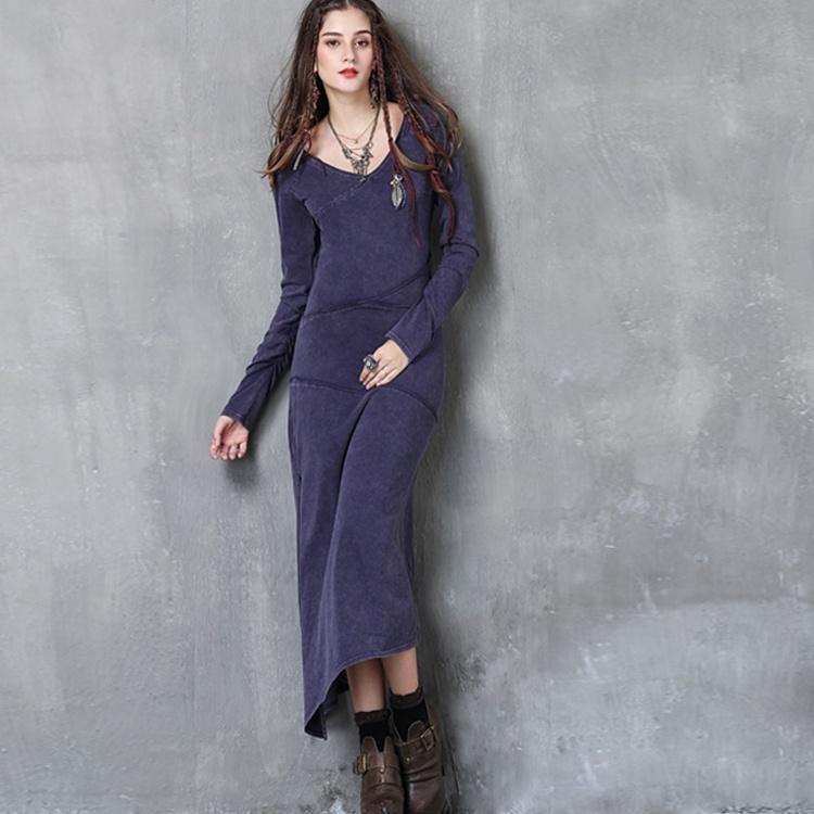 Caliente Nuevo Producto De Encargo De Denim De Algodón De Punto Vestido Largo