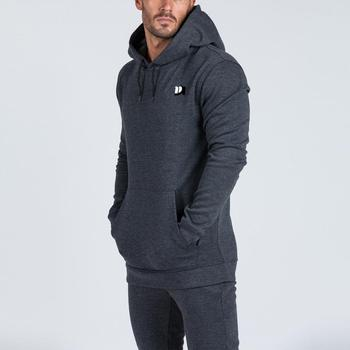 MS-2913 Good Quality Men Grey Gym Fitness Hoodies/ Pullover/ Sweatshirt