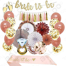 UMISS Rose Gold Bridal Shower Decorations 37PCS bachelorette gifts Bride To Be Banner,Sash,Tassel, bachelorette party supplies