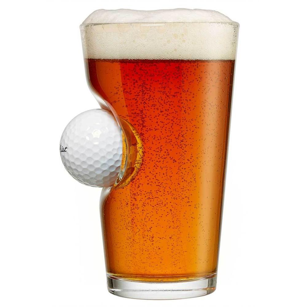 16oz golf ball embedded pint glass beer tumbler cups and glass pint cups