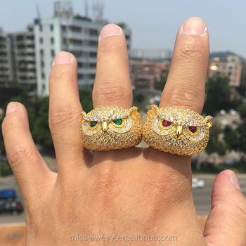ec98edb45dc06 Rap Jewelry New 925 Sterling Silver Bling Bling Diamond Gold Hip Hop Owl  Rings Mens Designs Model - Buy Mens Gold Rings Designs,Diamond Rings Men ...