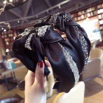 Fashion Vintage Women Korean Hair Accessories Black Color Fabric Crystal Wide Cross Twist Hair Band