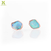 Rose gold Row Australian Opal Stud Earrings Jewelry