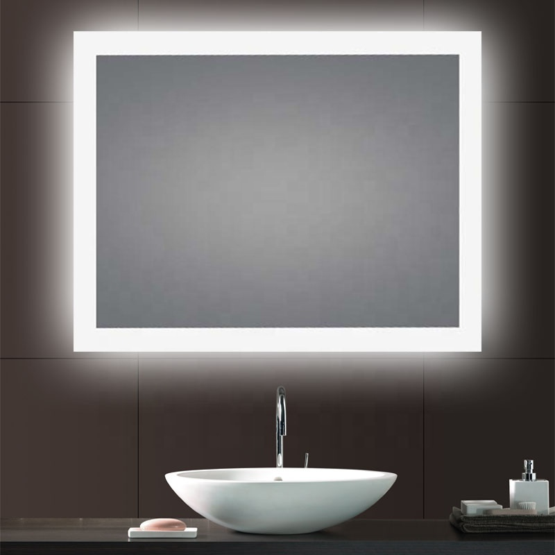CE ETL Frosted Glass LED Backlit Bath Mirrors Light Landscape Hotel Bathroom Mirrors