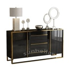 luxury furniture cabinet modern design gold stainless steel console table wooden dining room cabinet with drawers