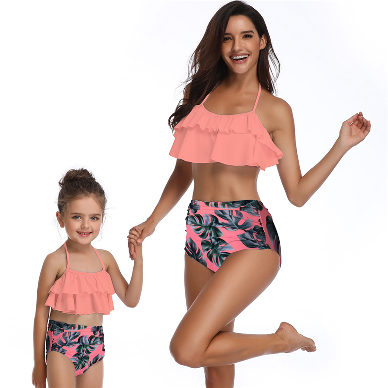 Matching Family Bathing Suits Mother Girl Bikini Swimsuit For Mom and Daughter Swimsuits Female Children Baby Kid Beach Swimwear