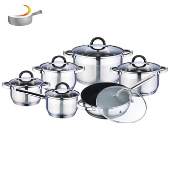 well equipped Fashion kitchen set cookware stainless steel durable cookware set pots with 5-stepped bottom