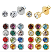 Mixed Colors 12 pair Surgical Steel 4mm Birthstone Earrings studs Ear piercing