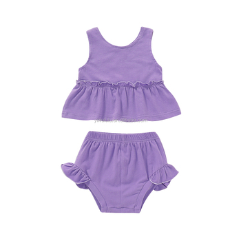 Wholesale Baby Kids Boutique Sleeveless Clothes Purple Fashion Children Summer Sets Top Sale Baby Girls Outfits
