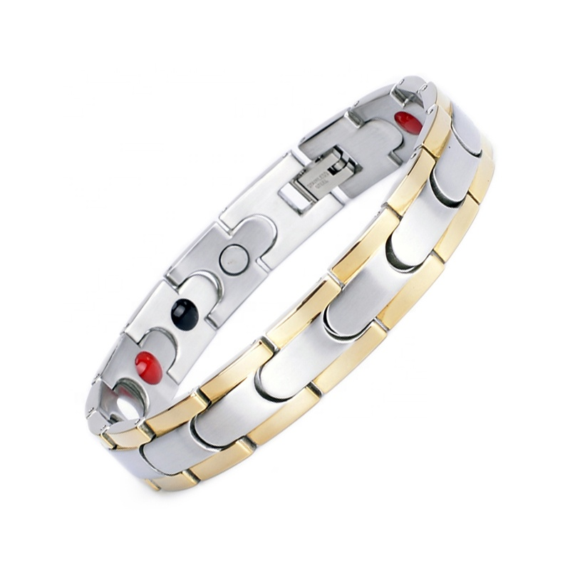 Keep Health <strong>Magnetic</strong> Silver-gold Stainless Steel <strong>Energy</strong> <strong>Bracelet</strong>