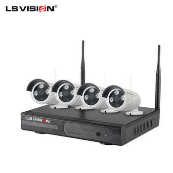 LS VISION 2019 New 4ch H.265 5mp Wifi NVR System Waterproof Bullet Infrared Camera Wireless Kit CCTV Security IP Alarm System