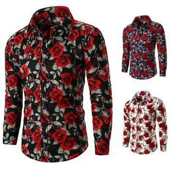 Men Casual Rose Flower Printed Shirts Turn Down Collar Long Sleeve Tops Tee Slim Fit 3 Colors M-3XL