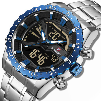 9136  naviforce Brand Men Military Sport Watches LED Analog Digital Male Clock Stainless Quartz Wristwatch Relogio Masculino