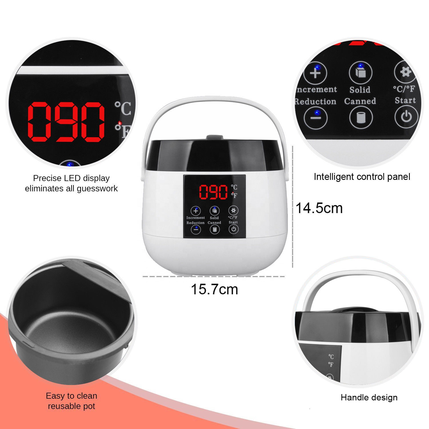 Digital Wax Warmer Hair Removal Non Sticky Pot ,Nylon fiber,Synthetic plastic Shell Temperature Resistance 170degrees Wax heater