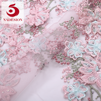 2018 new designs pink 3d applique lace/3d blush bridal lace fabric/embroidered flowers fabric floral 3d lace fabric