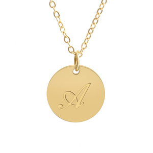 Initial Necklaces Personalised Charms Engraving Letter Gold Coin Necklace