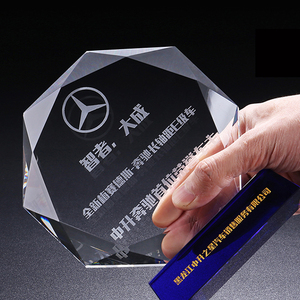 Customized clear crystal octagon trophy blank glass crystal award plaque