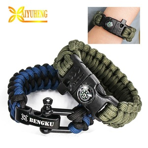 Military custom making parachute cord braiding bracelets paracord survival nylon rope braided bracelet kit