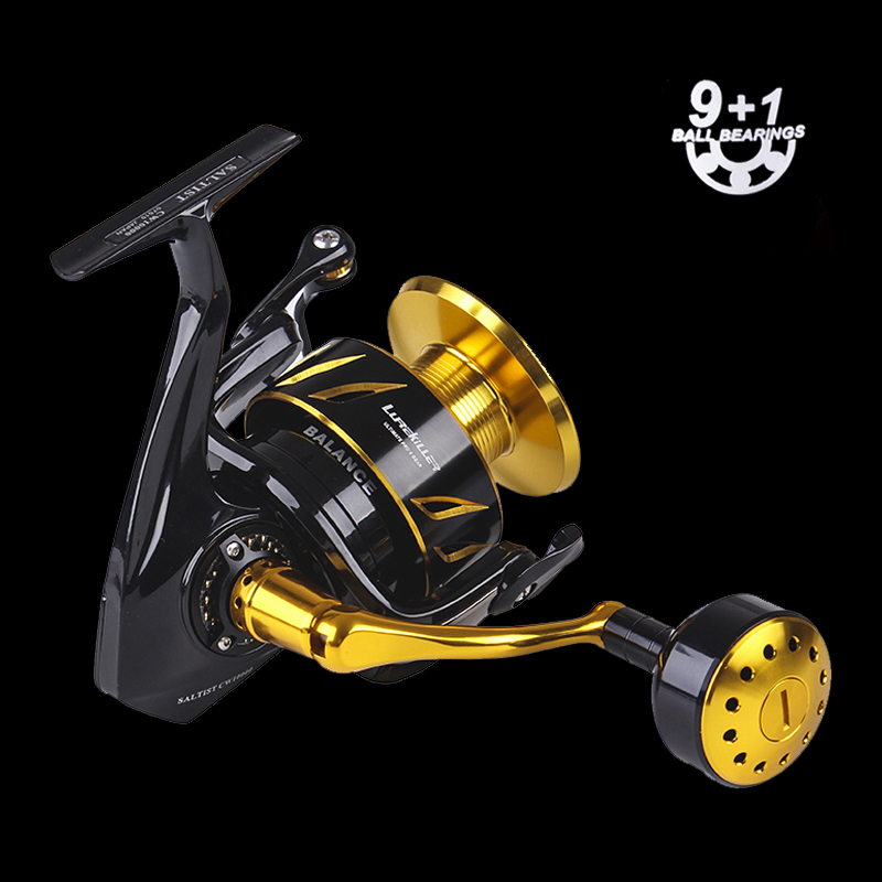 New japanese made Lurekiller Saltist CW5000 Spinning Jigging Reel Spinning reel 10BB Alloy reel 18kgs drag power, Gold