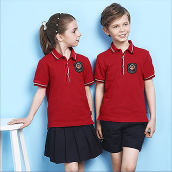 Red Primary School Uniforms Kids young girl School Uniform Design with pictures