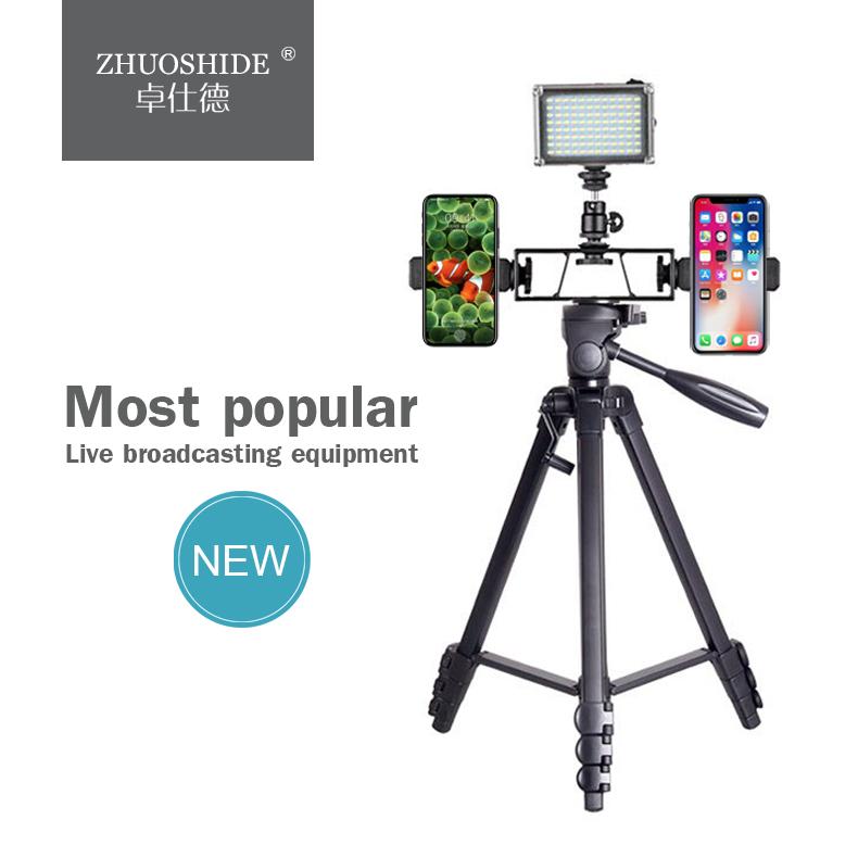 2019 best selling product tripod for telescope Mobile phone live bracket holder live broadcast stand for tripod tiktok tripod, Black+red