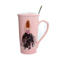 Fangjuu Creative home decoration gifts new products pink cup handmade design bride ceramic coffee mug cup for wedding guests