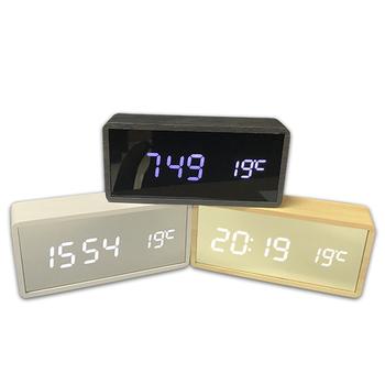 Creative Bambo Wood Alarm Clock Sound Control Led Perpetual Calendar Bed  Temperature Table Clock Mirror Clock - Buy Led Digital Clock,Wood Alarm