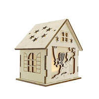 Holiday Decoration Christmas Tree Hanging Ornaments led Light Wooden House