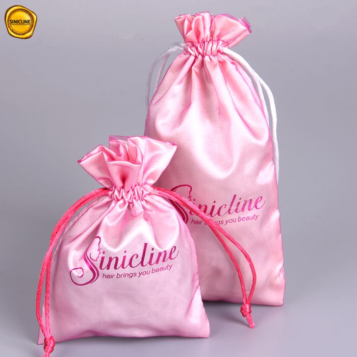 Sun Nature customized simplicity style pink organza satin bag drawstring hair packaging bag