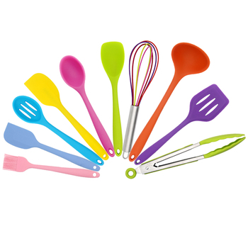 Guangdong Factory China 10 piece FDA Silicone Material Kitchen Accessories Set Utensil