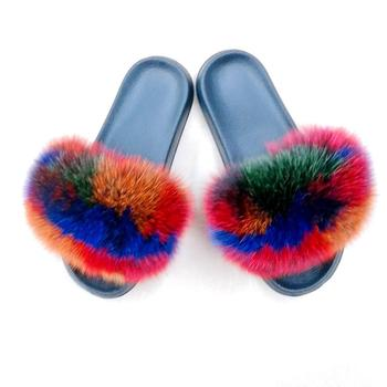 hot selling fox or raccoon fur slides sliders colourful real mink fur sandals wholesale