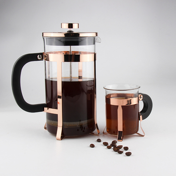 Gold Color Stainless Steel Glass French Press Coffee and Tea Sets Coffee Plunger With Cups
